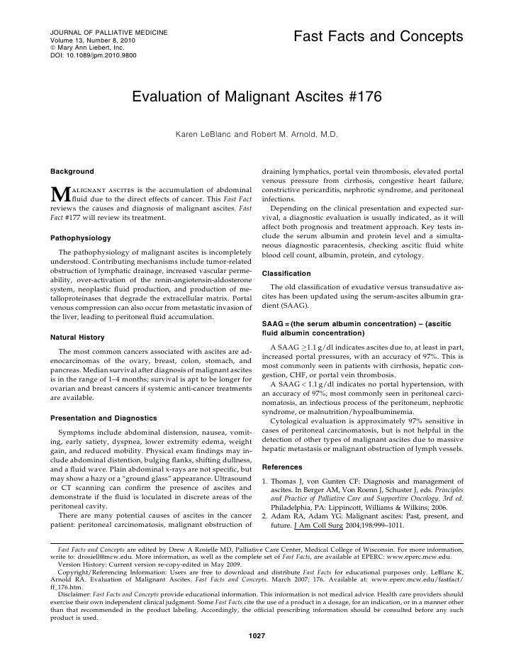 Evaluation of malignant ascites #176