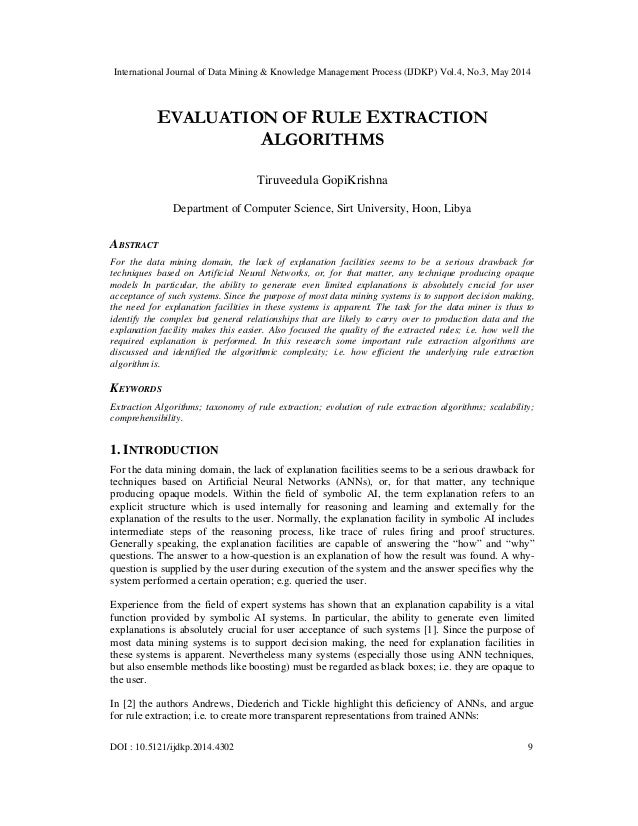 Evaluation of rule extraction algorithms