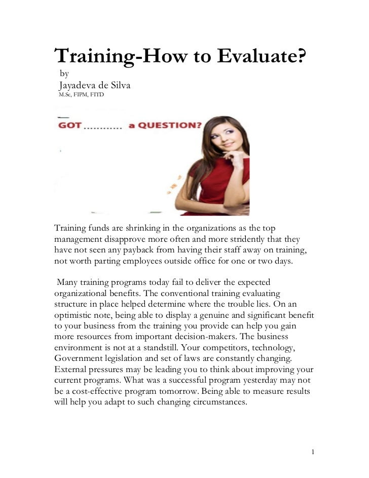 Training-How to Evaluate