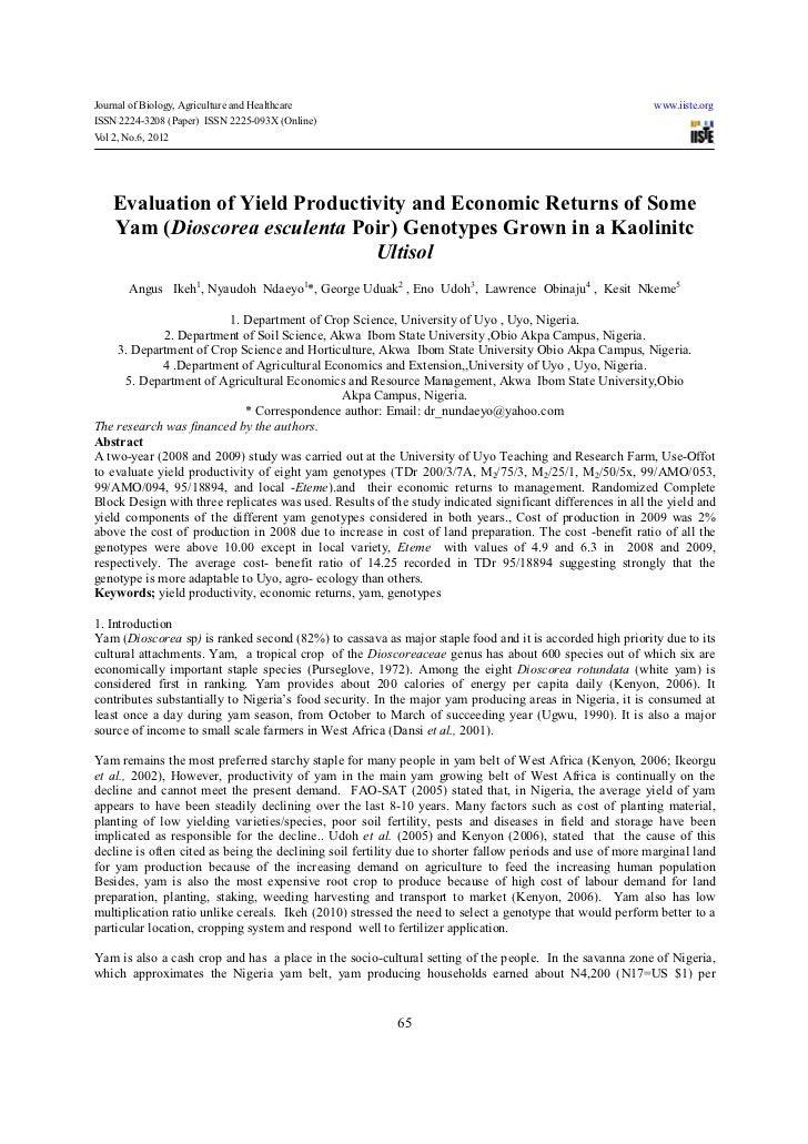 Evaluation of yield productivity and economic returns of some