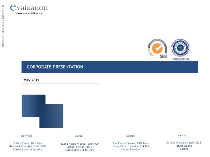 e-Valuation Financial Services Corporate Profile May 2011