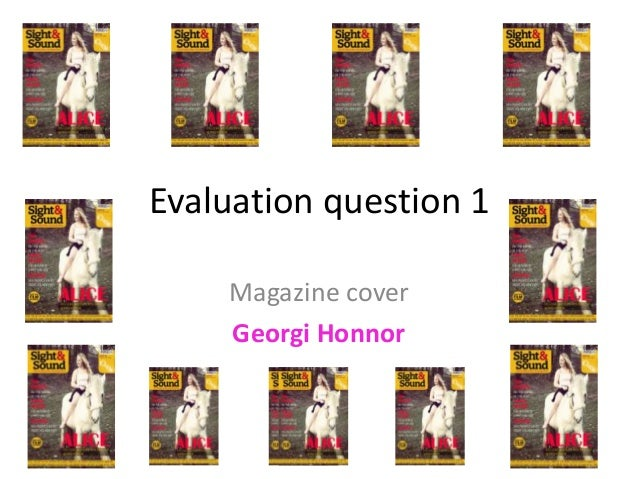Evaluation question 1 Magazine cover Georgi Honnor