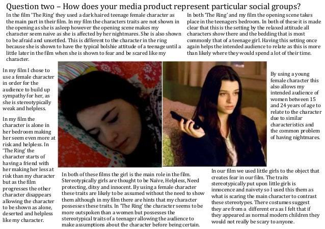 Question two – How does your media product represent particular social groups? In my film I chose to use a female characte...