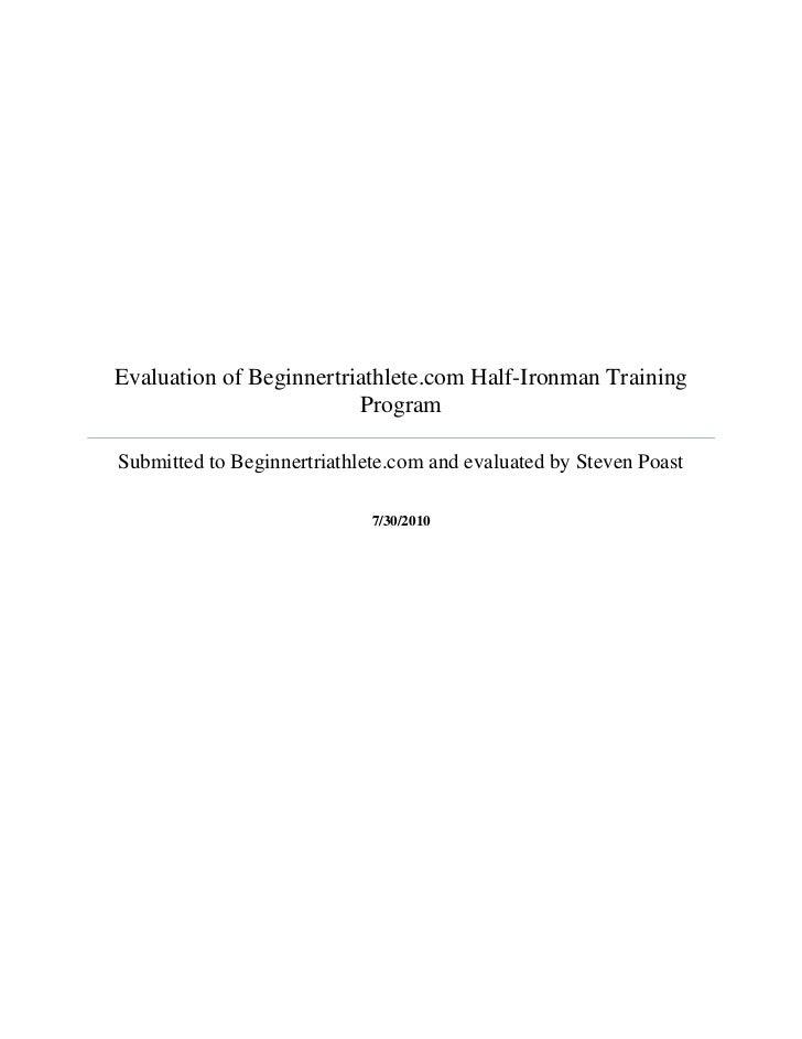 Evaluation report of beginner triathlete online training program
