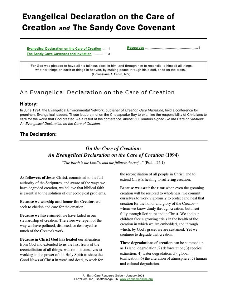Evangelical Declaration on the Care of Creation and The Sandy Cove Covenant    Evangelical Declaration on the Care of Crea...