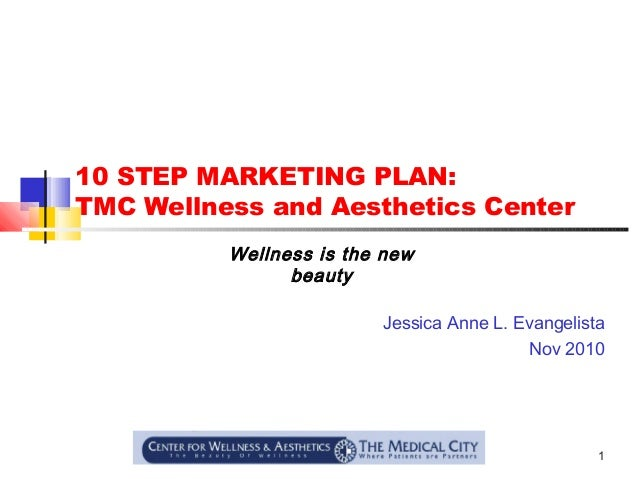 1 10 STEP MARKETING PLAN: TMC Wellness and Aesthetics Center Jessica Anne L. Evangelista Nov 2010 Wellness is the new beau...