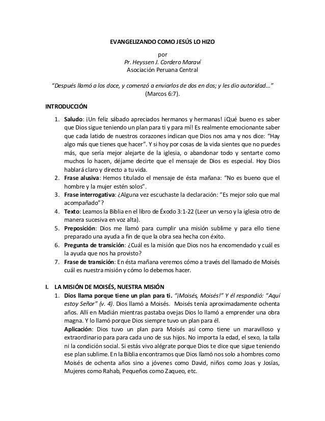 """EVANGELIZANDO COMO JESÚS LO HIZO por Pr. Heyssen J. Cordero Maraví Asociación Peruana Central """"Después llamó a los doce, y..."""