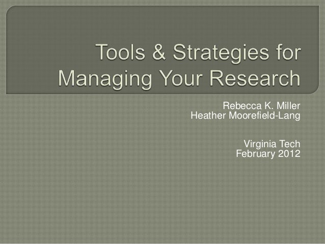 Research Management Tools
