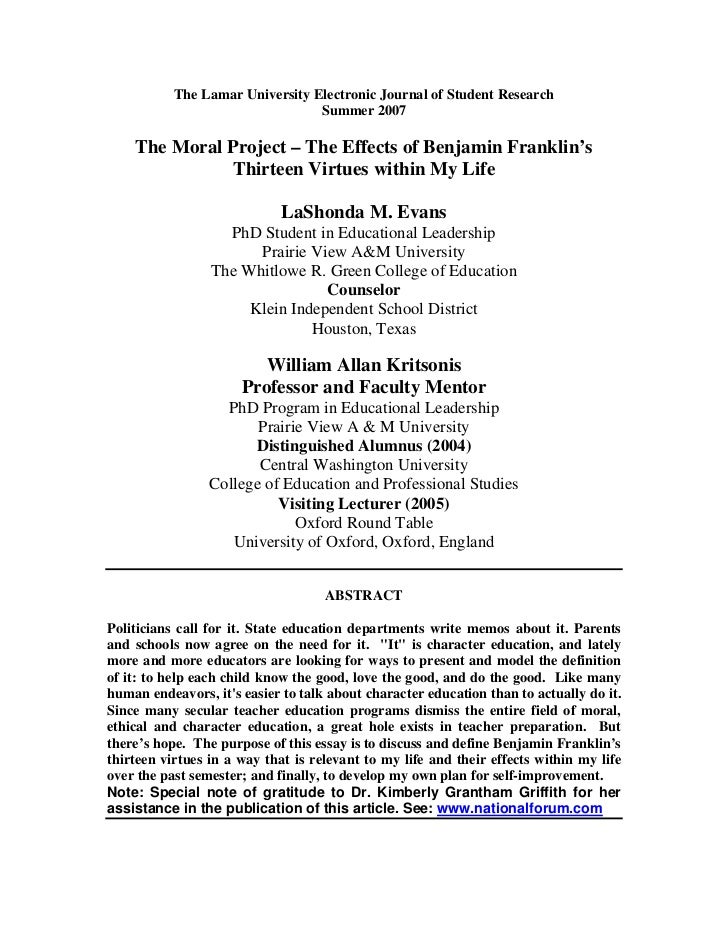 The Lamar University Electronic Journal of Student Research                                  Summer 2007      The Moral Pr...