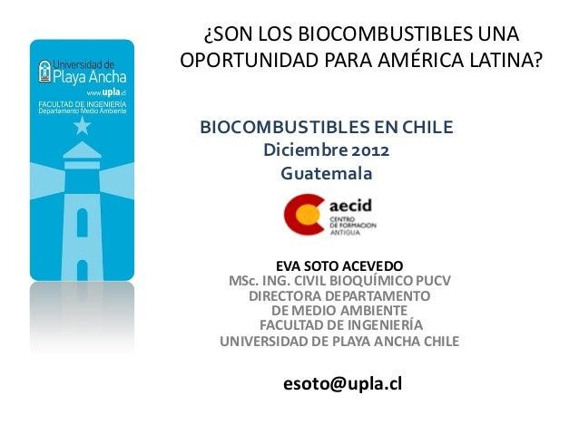 ¿SON LOS BIOCOMBUSTIBLES UNAOPORTUNIDAD PARA AMÉRICA LATINA? BIOCOMBUSTIBLES EN CHILE      Diciembre 2012        Guatemala...