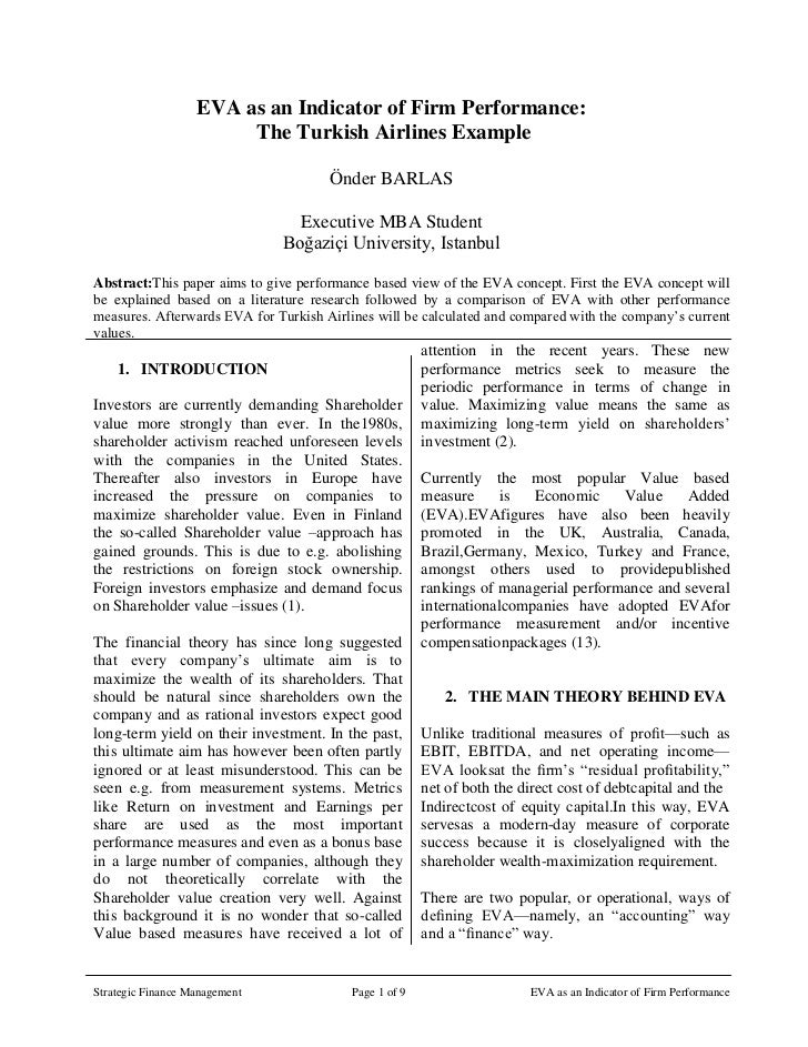EVA as an Indicator of Firm Performance:<br /> The Turkish Airlines Example<br />  Önder BARLAS<br />   Executive MBA S...