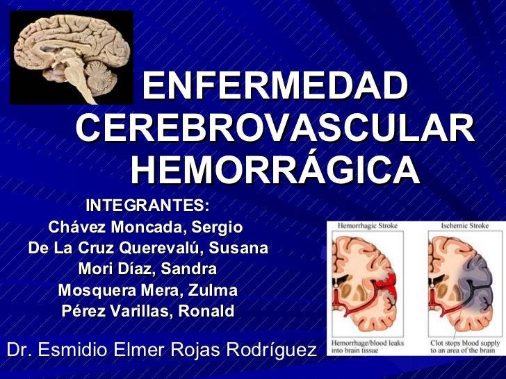 ENFERMEDAD CEREBROVASCULAR HEMORRÁGICA INTEGRANTES: Chávez Moncada, Sergio  De La Cruz Querevalú, Susana Mori Díaz, Sandra...