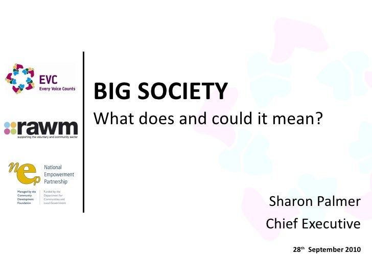 Sharon Palmer Chief Executive 28 th   September 2010 BIG SOCIETY What does and could it mean?