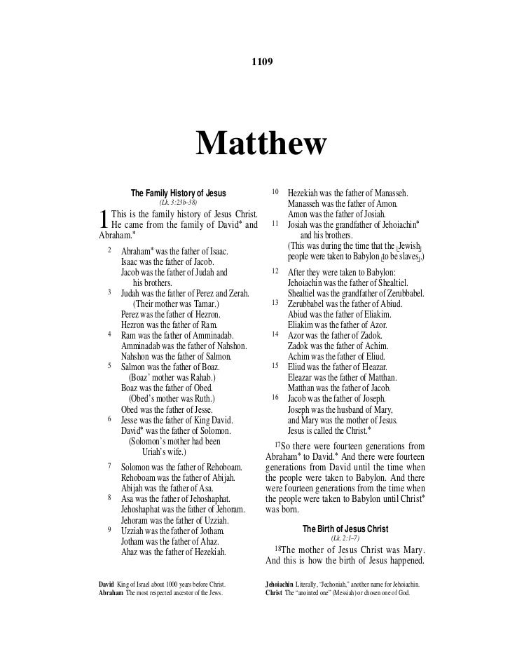 1109                                       Matthew             The Family History of Jesus                   10           ...