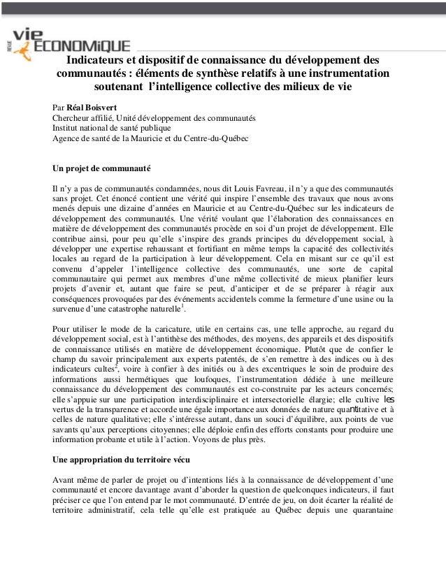 Indicateurs et dispositif de connaissance du développement des communautés : éléments de synthèse relatifs à une instrumen...