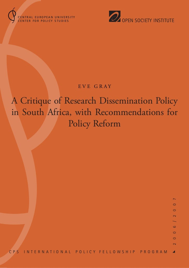 Research Dissemination Policy in South Africa