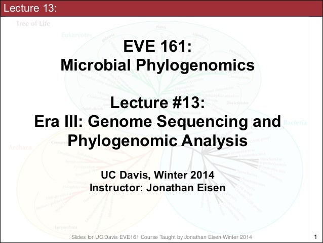 Lecture 13:  EVE 161: Microbial Phylogenomics !  Lecture #13: Era III: Genome Sequencing and Phylogenomic Analysis ! UC D...