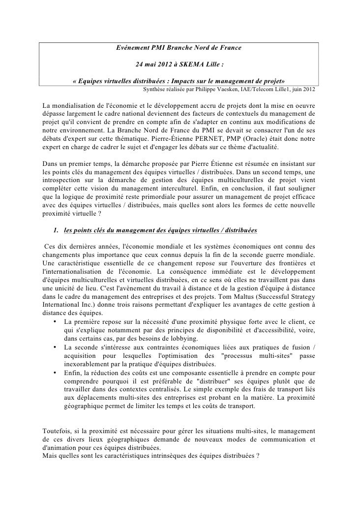 Evénement PMI Branche Nord de France                                 24 mai 2012 à SKEMA Lille :          « Equipes virtue...