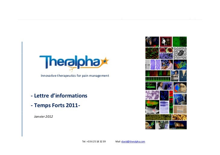 Temps forts 2011            P age |1     Innovative therapeutics for pain management- Lettre d'informations- Temps Forts 2...