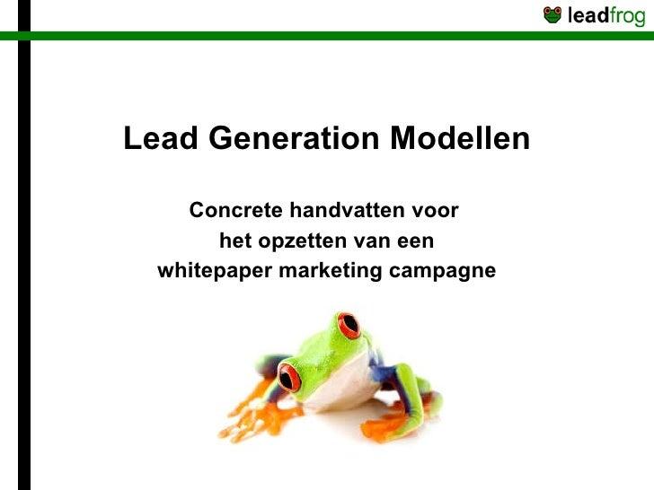 Lead Generation Modellen Concrete handvatten voor  het opzetten van een whitepaper marketing campagne
