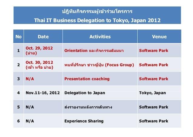 ปฎิทนกิจกรรมผูเข้าร่วมโครการ                           ิ         ้           Thai IT Business Delegation to Tokyo, Japan 2...