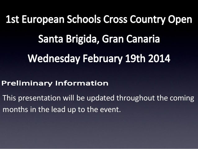 This presentation will be updated throughout the coming months in the lead up to the event.