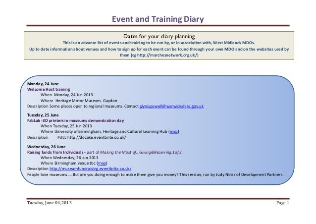 Event and Training DiaryTuesday, June 04, 2013 Page 1Monday, 24 JuneWelcome Host trainingWhen Monday, 24 Jun 2013Where Her...