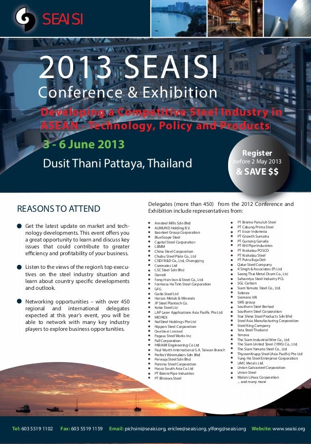 SEAISI           2013 SEAISI           Conference & Exhibition            Developing a Competitive Steel Industry in      ...