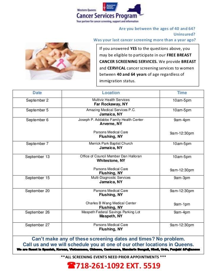 CSPWQ - 09/2012 FREE Cancer Screening Dates