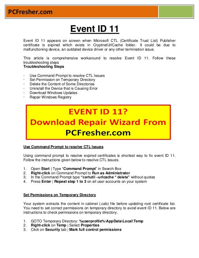 How To Fix Error EVENT ID 11