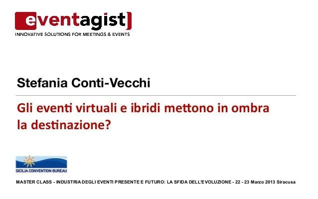 Stefania Conti-VecchiGli even( virtuali e ibridi me0ono in ombra la des(nazione? MASTER CLASS - INDUST...
