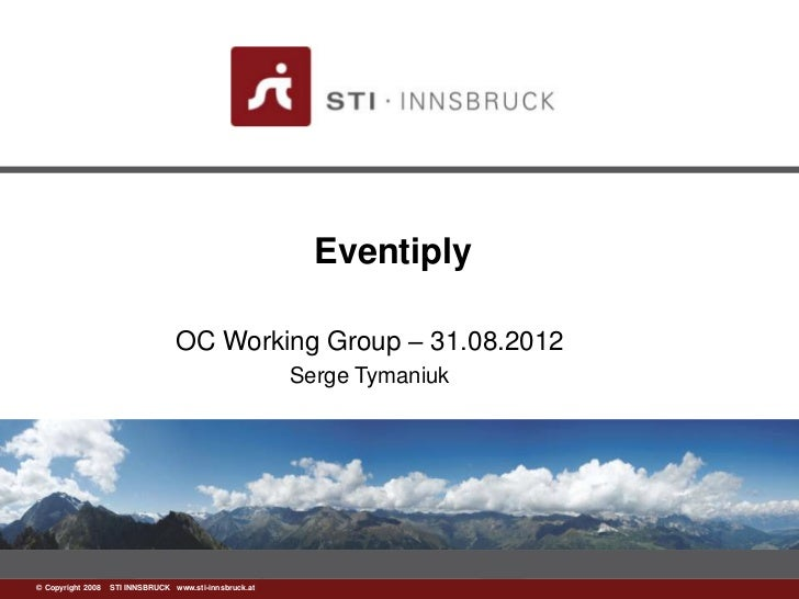 Eventiply                                 OC Working Group – 31.08.2012                                                   ...