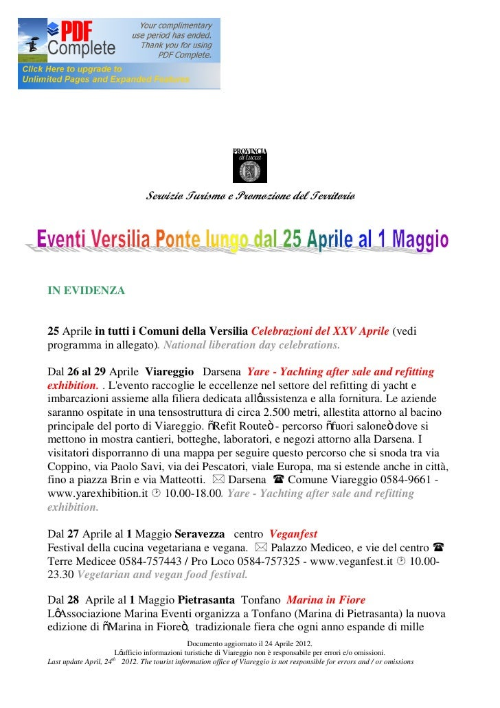 Servizio Turismo e Promozione del TerritorioIN EVIDENZA25 Aprile in tutti i Comuni della Versilia Celebrazioni del XXV Apr...