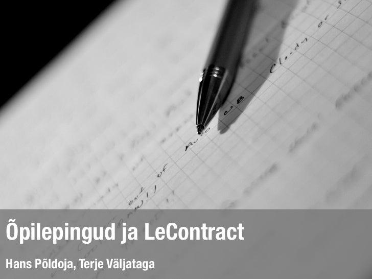 Õpilepingud ja LeContract
