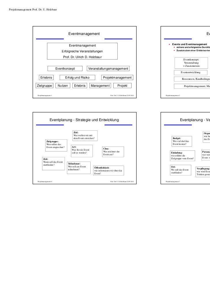 Projektmanagement Prof. Dr. U. Holzbaur                                                                                   ...