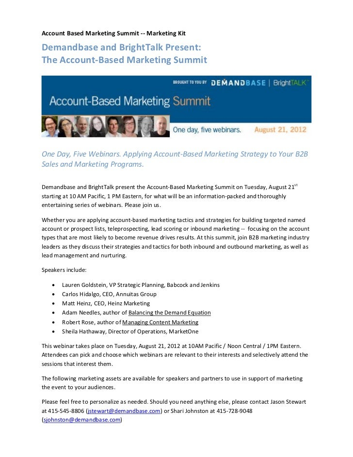 Account Based Marketing Summit -- Marketing KitDemandbase and BrightTalk Present:The Account-Based Marketing SummitOne Day...
