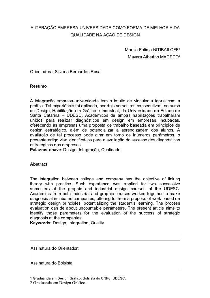 A ITERAÇÃO EMPRESA-UNIVERSIDADE COMO FORMA DE MELHORIA DA                       QUALIDADE NA AÇÃO DE DESIGN               ...