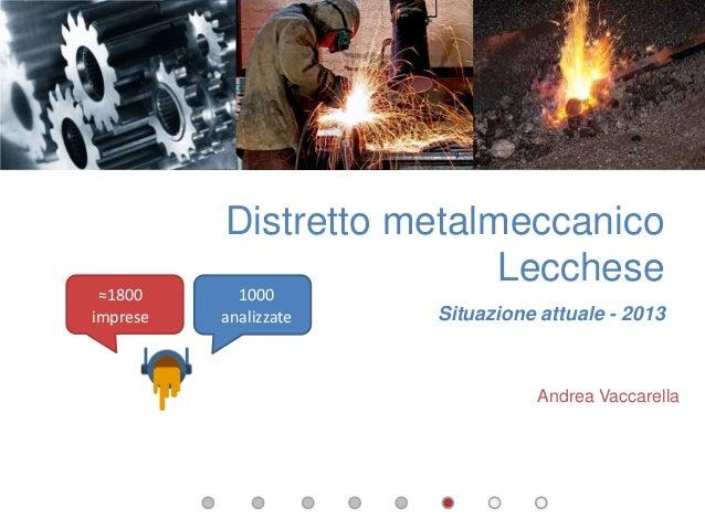 1000 analizzate ≈1800 imprese Distretto metalmeccanico Lecchese Situazione attuale - 2013 Andrea Vaccarella