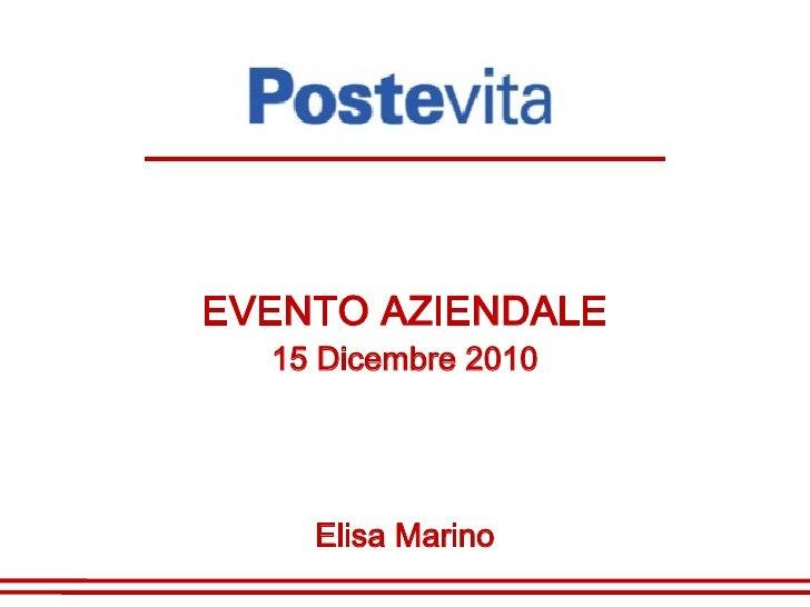 EVENTO AZIENDALE  15 Dicembre 2010    Elisa Marino