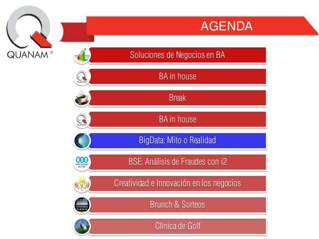 AGENDA Soluciones de Negocios en BA BA in house Break BA in house BigData: Mito o Realidad BSE: Análisis de Fraudes con i2...