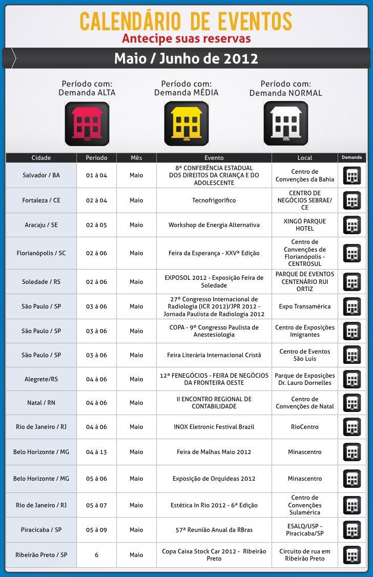 calendario de eventos                                   Antecipe suas reservas                                  Maio / Jun...