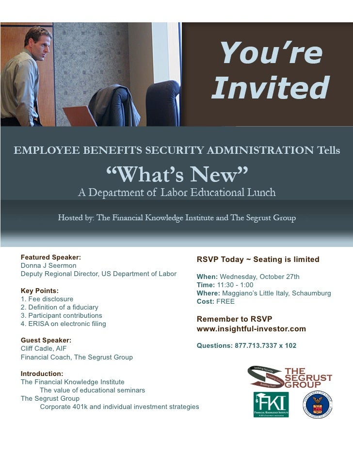 10/27 Fiduciary Lunch and Learn Invitation