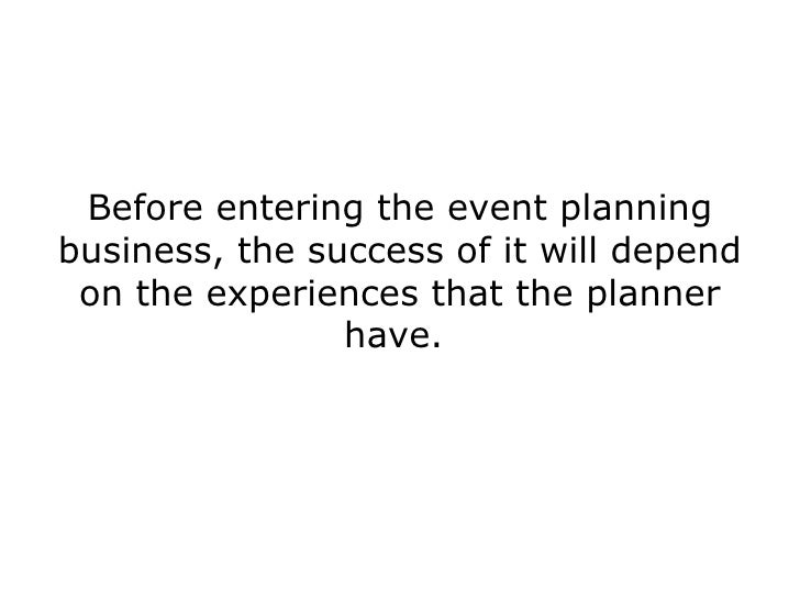 Business plan for event planning