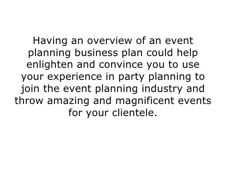 Write business plan event planning business