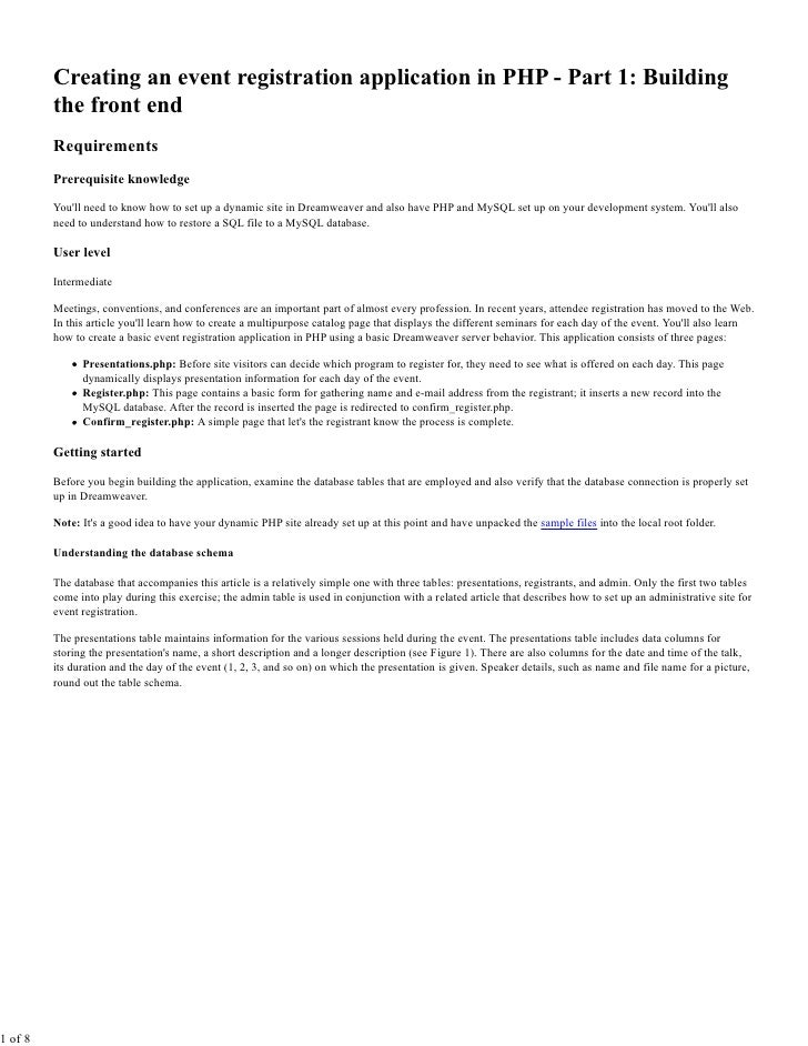 Events Registration System Part 1