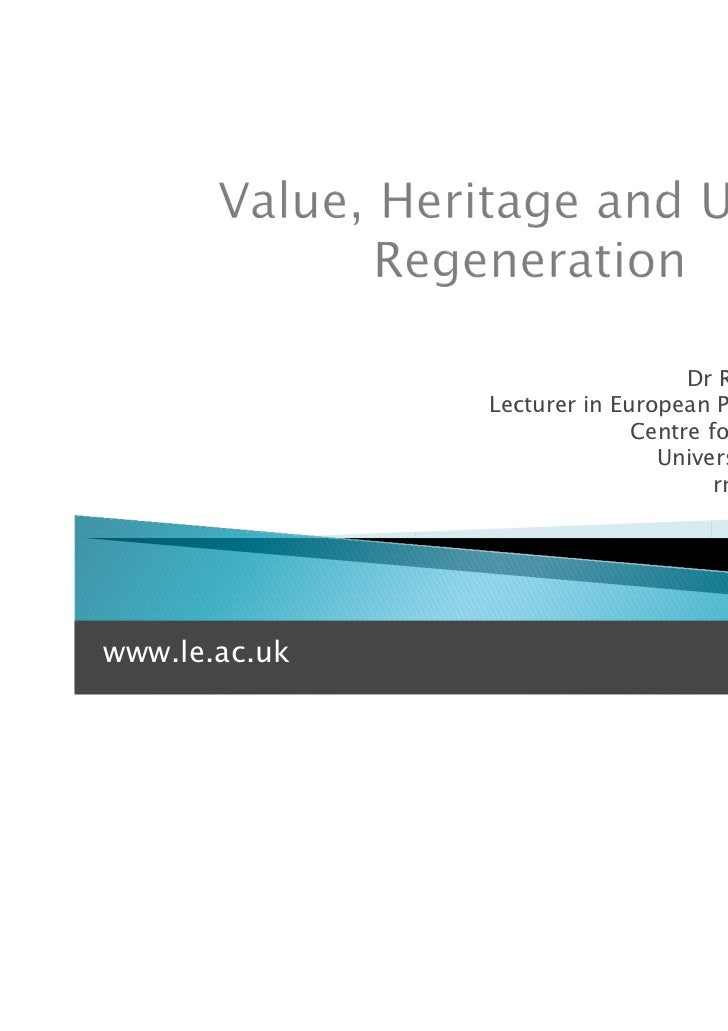 Dr Rebecca Madgin               Lecturer in European Planning History                             Centre for Urban History...