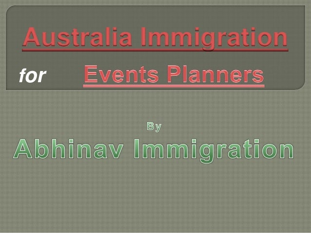 Events planners' australian immigration