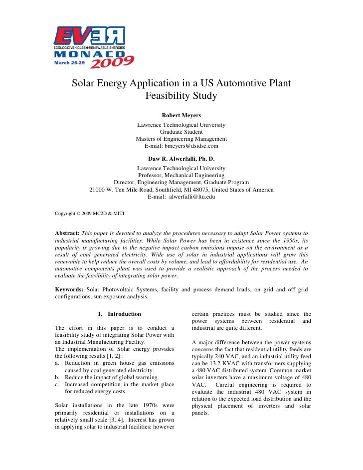 Solar Energy Application in a US Automotive Plant  Feasibility Study