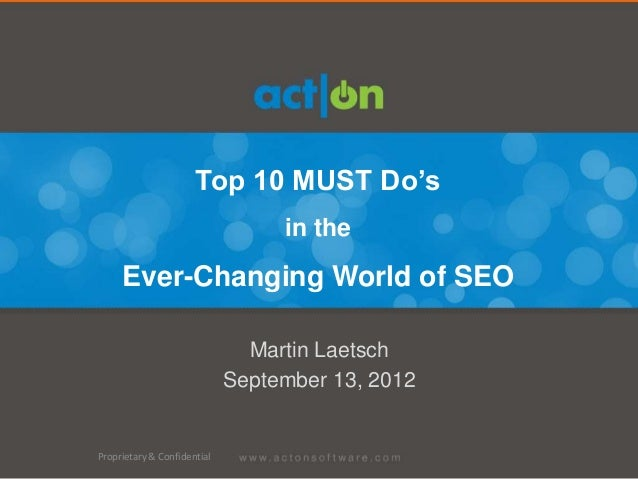 Top 10 MUST Do's                                  in the     Ever-Changing World of SEO                               Mart...