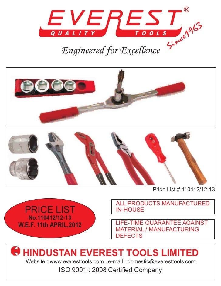 Engineered for Excellence                                                    Price List # 110412/12-13                    ...